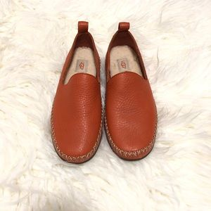 UGG coral color leather flats size 6